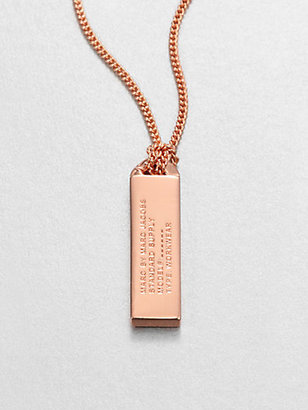 Marc by Marc Jacobs ID Tag Pendant Necklace/Rose Goldtone