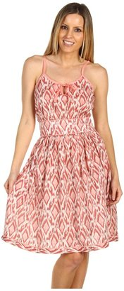 Stetson Diamond Ikat Print Dress (Pink) - Apparel