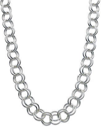 Touch of Silver Silver-Plated Necklace, Silver-Plated Long Chain Link Necklace