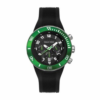 Philip Stein Teslar Dual Time Zone Chronograph Analog Display Japanese Quartz Watch Black Rubber Band Green rotating bezel Dial with Extreme Frame Natural Frequency Technology Provide Energy-Model 33-XGRN-RB