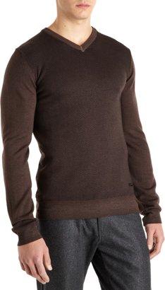 Armani Collezioni Herringbone V-Neck Sweater