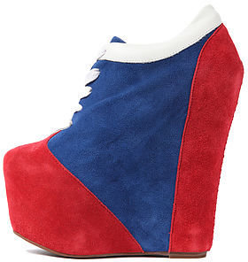 Jeffrey Campbell The Fired Up Platform in Red, White and Blue Suede
