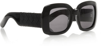 Bottega Veneta Square-frame acetate and intrecciato leather sunglasses