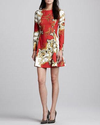 Just Cavalli Paisley-Print Long-Sleeve Dress