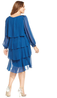SL Fashions Plus Size Dress, Long-Sleeve Jewel Tiered