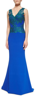 Badgley Mischka Sleeveless Open-Back Lace-Bodice Gown