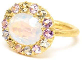 Marie Helene De Taillac 22k Gold, Rainbow Moonstone and Sapphire Ring