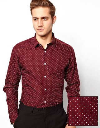 Asos Smart Shirt in Long Sleeve with Polka Dot Print