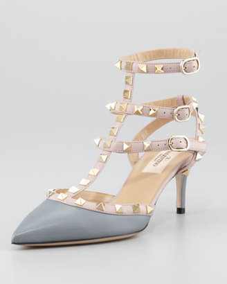 Valentino Rockstud Two-Tone Leather Sling Back, Stone