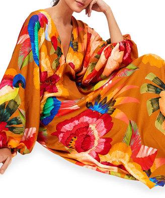 Farm Rio Cashew Floral Blouson-Sleeve Maxi Dress