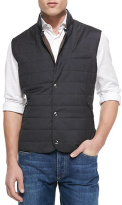 Brunello Cucinelli Wool/Silk Snap Fitted Vest, Gray $1,795 thestylecure.com