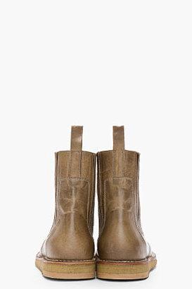 Rick Owens Khaki distressed leather Vaz Elastic boots