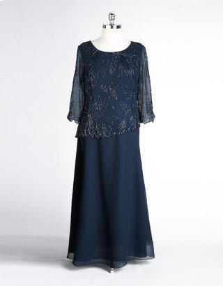 J Kara Plus-Size Beaded Bodice Dress