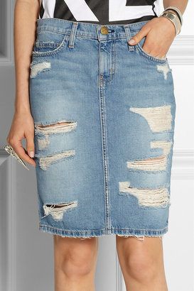 Current/Elliott The Stiletto distressed denim pencil skirt