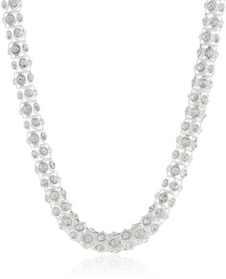 """Anne Klein Silver-Tone Crystal Glass Tubular Pave Collar Necklace 16"""""""