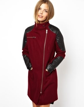 Asos Biker Coat With Motorcycle Sleeve - Oxblood