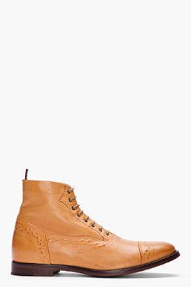 Alexander McQueen Tan hand-embossed leather boots