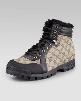 Gucci Nebraska Fur-Lined Boot, Beige