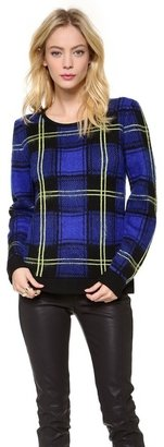 Milly Washed Plaid Sweater