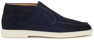 Santoni Navy Suede Ankle Boots