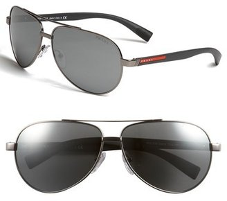 Prada 63mm Aviator Sunglasses
