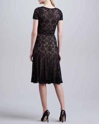 Zac Posen Short-Sleeve Lace Dress, Black