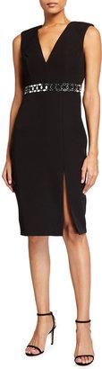 Aidan Mattox V-Neck Embellished Waist High-Slit Sheath Dress