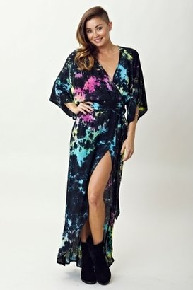Blue Life Cleo Tie Dye Wrap Dress in Deep Space $189 thestylecure.com