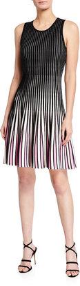 Milly Inset Stripe Fit-&-Flare Godet Dress