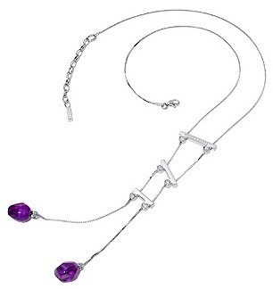 Nuovegioie Sterling Silver Purple Crystals Drop Necklace