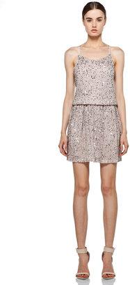Alice + Olivia Bridget Sequin Blouson Dress in Dusty Pink