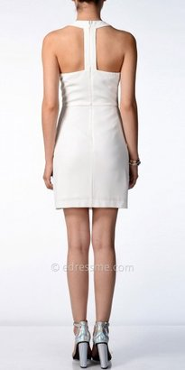 No White Embellished Fitted Day Dress