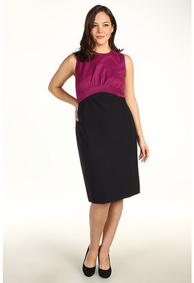 Kenneth Cole New York Plus Size Colorblock Mixed Media Pleat Dress