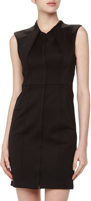 Tracy Reese Tracy by Sculpted Zip-Front Keyhole-Back Scuba Dress, Black