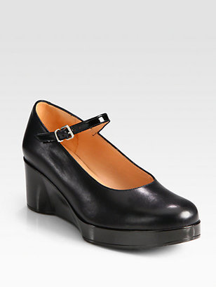 Robert Clergerie Leather Mary Jane Wedge Pumps