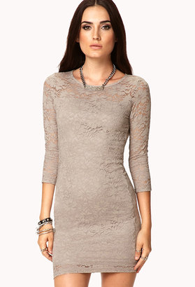 Forever 21 Floral Lace Bodycon Dress