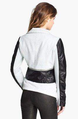 Steve Madden Denim & Faux Leather Moto Jacket