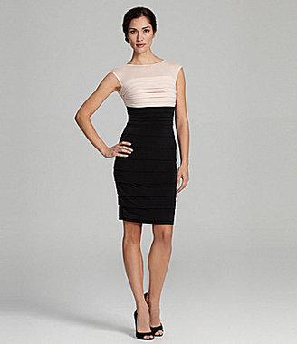 Sangria Cap-Sleeve Shutter Dress