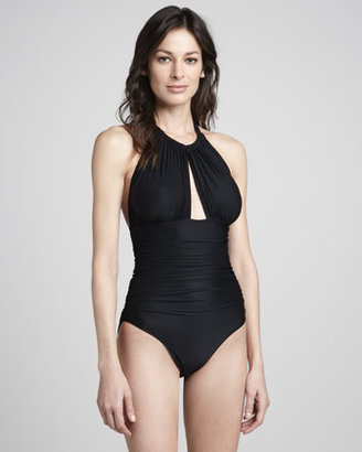 Lenny Ruched Halter Maillot Swimsuit, Black