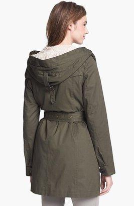 DKNY Faux Fur Trim Belted Jacket with Detachable Vest Liner