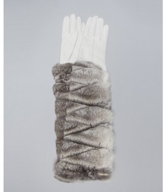 All Gloves ivory suede and rabbit fur long cashmere lined gloves