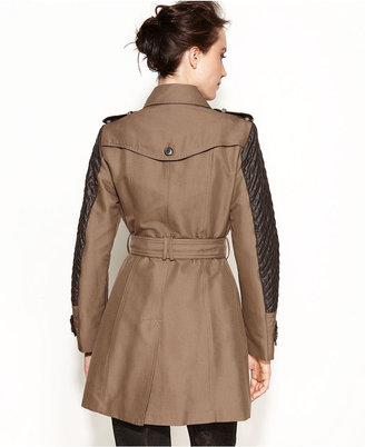 Jones New York Double-Breasted Faux-Leather-Trim Trench Coat