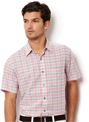 Nautica Shirt, Poplin Mixed Plaid Short Sleeve Shirt
