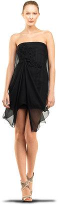 Max Studio Silk Chiffon Strapless Dress