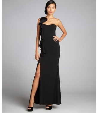 Laundry by Shelli Segal black ruffle one shoulder evening gown