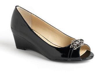 Adrienne Vittadini Ceslee Embellished Leather Wedge Pumps