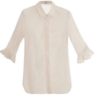 Carven Ruffled cuff sheer lace shirt