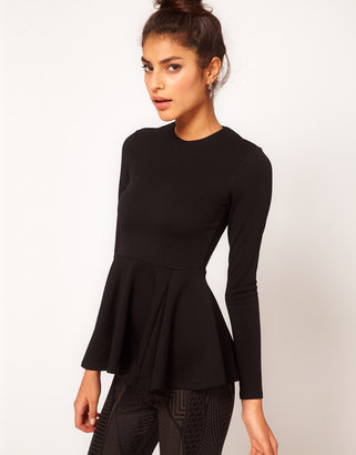 Asos Top with Peplum in Bonded Fabric