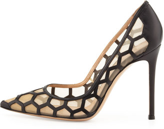 Gianvito Rossi Honeycomb Point-Toe Pump, Black/Nude