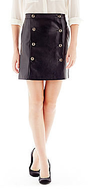 Joe Fresh Faux-Leather Button-Pleat Skirt